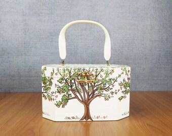 Vintage Annie Laurie Originals Palm Beach Hand Painted Wooden Box Bag with Bakelite Handle, Orange Tree Motif