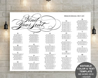 Printable, Wedding seating chart, template, Find your seat, sign, seating chart printable, alphabetical, instant download, S8