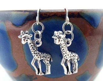 Giraffe earrings - Giraffe collector earrings - Zoo Earrings - pair of Giraffes - zoo animal earrings - zoo keeper earrings - silver giraffe