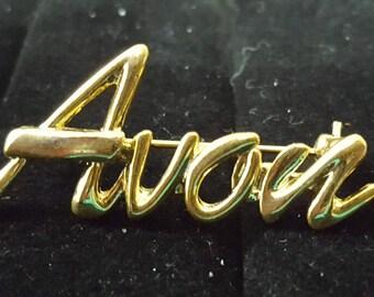 Vintage Script Avon Pin in Gold Stamped NR