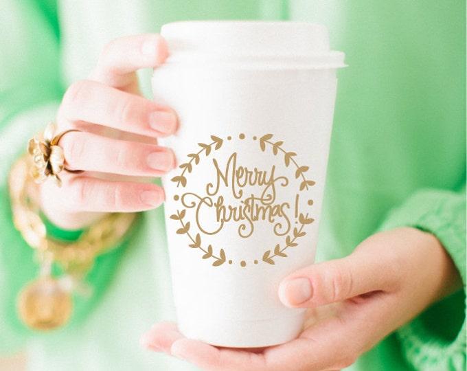 Christmas Wreath Coffee Cup (Set of 10)
