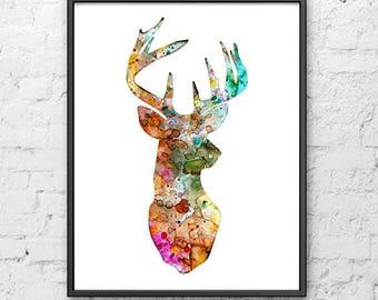 Watercolor Deer Art Print, Watercolor Print, Watercolor Illustration Art, Animal Art, Home Decor Wall Art - 141