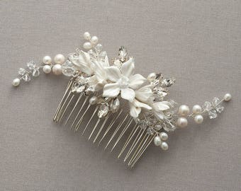 Harper | Bridal Comb Silver, Wedding headpiece, Bridal Headpiece, Wedding Comb,