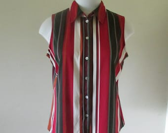 Striped sleeveless top, cool sleeveless shirt,Striped sleeveless blouse,combination stripes,verticalstripe blouse sleevelessColourfulblouse