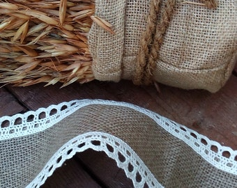 Burlap Ribbon - Burlap and Lace Ribbon - Wedding Ribbon -  Rustic Wedding Ribbon - Wedding Accessory - Rustic Wedding Decor - Choose Length