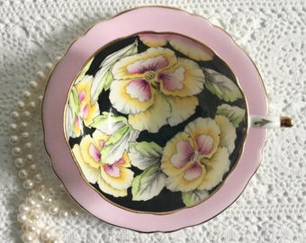 Hand Painted Pansy Paragon Tea Cup & Saucer