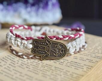 Bronze Hamsa. Hemp Bracelet. Wooden Beads. Hippie Bracelet. Boho Jewelry. Natural Jewelry. Hamsa. Bronze Charm.