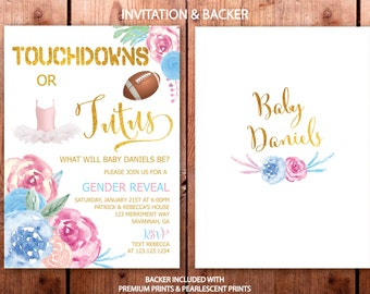 Gender Reveal Invitation // Touchdowns or Tutus // Gender Reveal Party // He or She // Boy or Girl // Gold // SAVANNAH COLLECTION