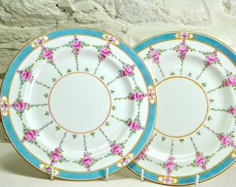 Pair of Minton China Luncheon Plates in Persian Rose Turquoise and Pink English Bone China, Ceramic Plates, Small Dinner Plates