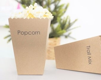Personalized Popcorn Box - Party Favor - Treat Box - Lumberjack First Birthday - KRAFT Brown - Set of 6