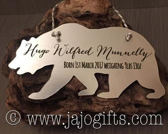 Bear personalised new baby birth announcement hanger plaque great beautiful keepsake gift silver gold copper or wood alder birch