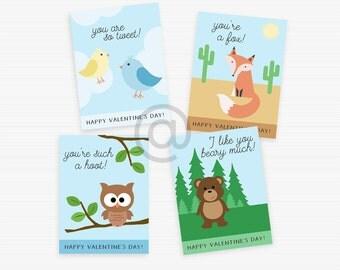 Printable Valentines, Woodland Animals, Downloadable Valentines, School Valentines, Instant Download