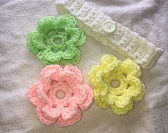 Crochet Headbands w/ changeable crochet flowers