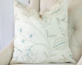 Teal pillow covers, embroidered pillows, high end accent pillow covers, designer throw pillows, pillows with trim