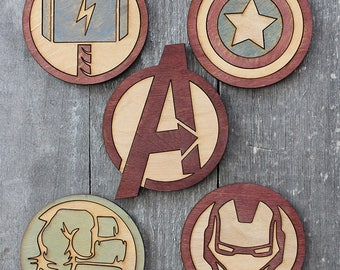 Avengers Wood Coaster 5-Piece Set | Rustic/Vintage | Hand Stained and Glued | Comic Book Gift | Thor | Captain America | Iron Man | Hulk