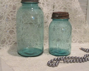 Vintage, Shabby Chic, Farmhouse Style Mason Jars- 1930s with Zinc Lids- Set of 2