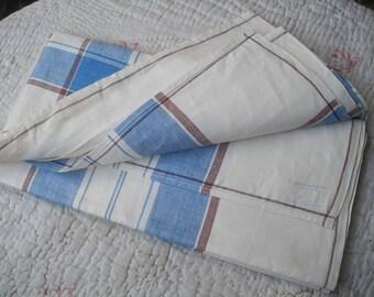 Vintage CC41 linen tablecloth, blue & white utility mark 1940s