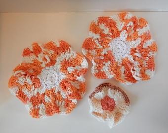 Dish/Wash Cloths - Set of 3 - Orange Blossoms! - 100% Cotton - Hand Crocheted - Flowers - Kitchen Gear - Bathroom - Camping - Dishcloth