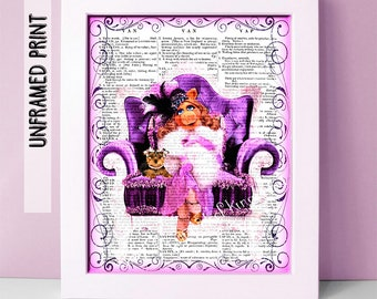 Miss Piggy Dictionary Art Print - Muppets Dictionary Page Art - Classroom Art - Gifts under 20 - Miss Piggy Muppet Poster - Childrens Decor