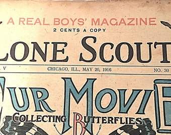 The Real Boys Magazine    Lone Scout    Our Movie Collecting Butterflies    May 20 1916   Perry Emerson Thompson