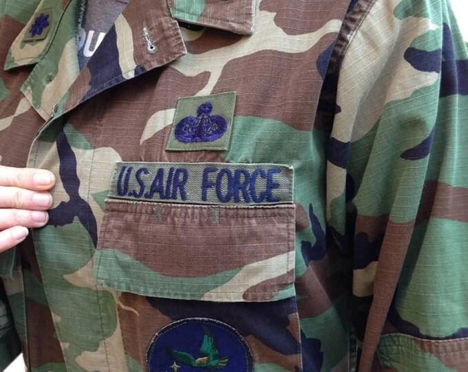 VINTAGE Space Command Field Jacket US Air Force Blouse Sz Medium Regular - ,