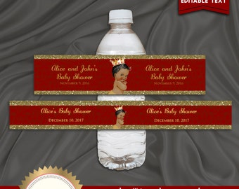 Printable Baby Shower Water Bottle Labels, Little Prince, Royal Baby Shower, Red, Gold, Digital File, EDITABLE text, Microsoft® Word Format