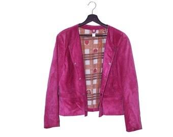 70s vintage pink suede women jacket - vintage clothing