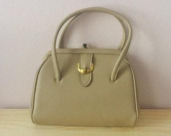 1960s Classic Vintage Top Handle Bag | Beige Retro Kelly Bag | Mid Century Mad Men Purse