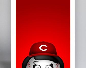 Minimalist Mascot - Rosie Red - Cincinnati Reds
