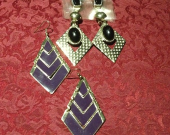 3 Pairs of retro 80's earrings