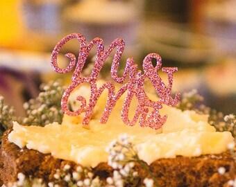 Mrs and Mrs Cake Topper LIGHT PINK GLITTER