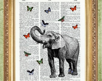 Elephant and Butterflies Dictionary Art Prints Art Print Wall Decor Vintage Dictionary Print Dictionary Prints Book Page Art MHP Original