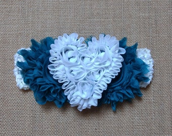 Heart Headband, Flower Headband, Baby Headband, Blue Headband, Baby Hair Accessory, Newborn Headband, Baby Girls Headband