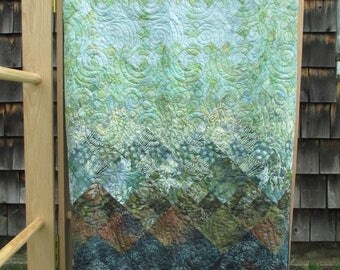 Batik Quilt in Blues and Greens Twin Full Double OOAK