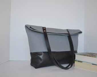 Slate Grey Canvas and Leather Tote Bag in Black Leather, Leather Handle Shoulder Bag