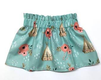 PREORDER -- Teepee Skirt, Rustic Skirt, Flower Skirt, Blue Skirt, Baby Girl Skirt, Girls Skirt, Toddler Skirt, Baby Skirt, Cotton Skirt