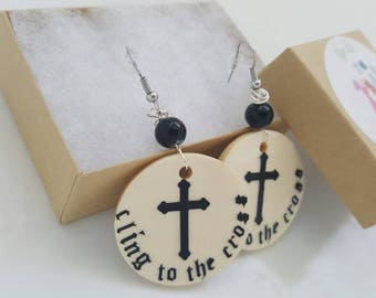 Earrings,Eco wood earrings, wood jewelry,dangle wooden earrings,Christian earrings, cross earrings,bible earrings, Christian jewelry