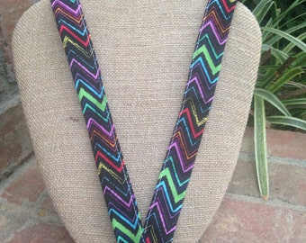 Multi-color Chevron Lanyard ID Badge Holder