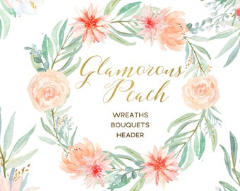 Blush pink, peach and mint green palette Digital clipart. Soft pink wreath , header, flowers. Wedding invitations. Peonies, roses eucalyptus