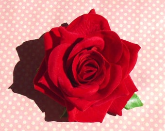 Large red rose hair flower or brooch