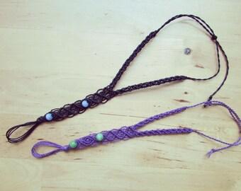 Bracciale gioiello baciamano in macramè  con pietre semi-preziose/ Macrame hand jewelry with semi-precious stones