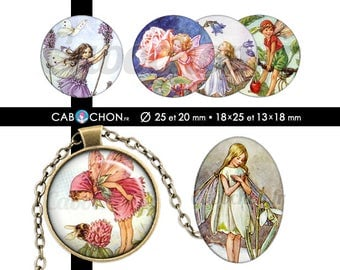 Fairies of Nature  • 60 Images Digitales RONDES 25 20 mm OVALES 18x25 13x18 mm fee elfe fees fleur fleurs fillette fille cabochon page