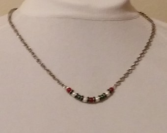 Pearl and Silver Bead-Bar Necklace, Handmade, red, green, white, silver