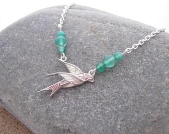 Swallow Bird Green Aventurine Gemstone Necklace, 2017 Jewellery Trend, Boho Necklace, Statement Necklace, Bird Necklace, Green Bird Necklace