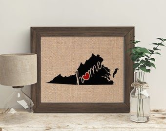 "Virginia (VA) ""Love"" or ""Home"" Burlap or Canvas Paper State Silhouette Wall Art Print / Home Decor (Free Shipping)"