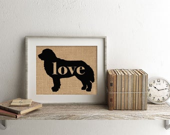 Bernese Mountain Dog Love - A Rustic Farmhouse Wall Art Hanging Home Decor Print on Burlap or Paper Canvas - Can Personalize w/ Name (101p)