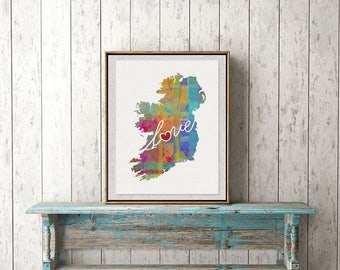 Ireland Love - Colorful Watercolor Style Wall Art Print & Home Country Map Artwork - Travel, Moving, Engagement, Wedding, Honeymoon Gift