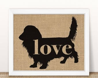 Long Haired Dachshund / Wiener Dog Love - Burlap Wall Print Decor Gift for Dog Lovers - Personalize Silhouette w/ Name - More Breeds (101p)