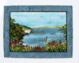 """Landscape Quilt """"Hidden Bay"""", Wall Hanging, Art Quilt, Fiber Art, Textile Wall Art, Fabric Art, Beach, Sea, Boathouse, Fabric Collage Nature"""