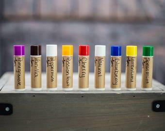 Lip balm - Natural lip balm - Assorted Lip balm - Moisturizing lip balm - Flavored Lip Balm -  Party Favor - Wedding Gift - Stocking Stuffer